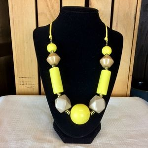 Yellow and beige chunky statement necklace